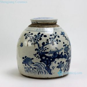 "RZEY03-C 11.5"" Flower Design Blue and White Flat Top Lidded Jars"