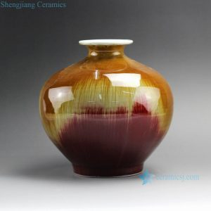 "RZFJ01 8.5"" High temperature Transmutation Glazed Ceramic Vase"