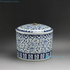 "RZFR01 D9"" Ceramic Blue and White Floral Tea Pots"
