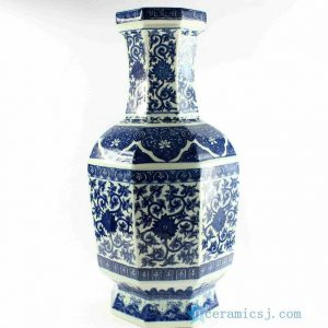 "RYTM33 h21.5"" wholesale floral blue and white vases"