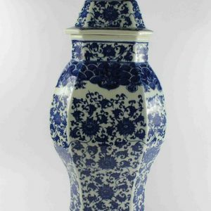"RYTM37 h23.5"" wholesale blue and white ceramic ginger jar with foo dog lid"