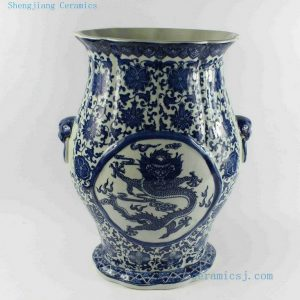 "RYTM43 h16"" wholesale blue and white ceramic dragon vase"