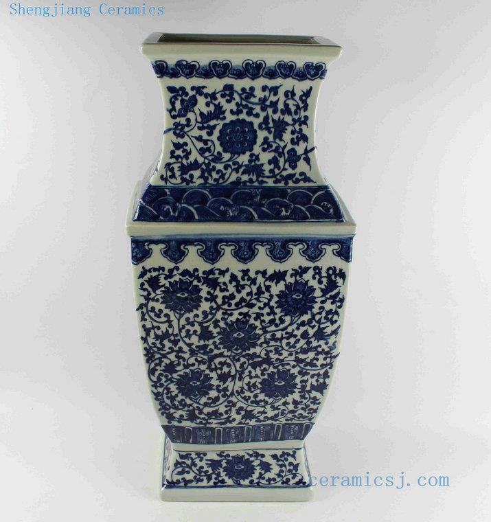 Rytm44 H21 Wholesale Blue And White Ceramic Square Vase