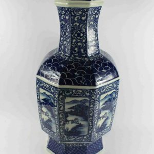"RYTM45 h22"" wholesale blue and white landscape ceramic medallion vase"