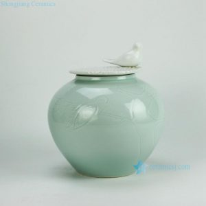 2N03-A/B Celadon Carved Bird Porcelain Jar