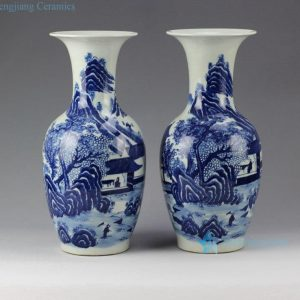 RYLU58 15.4inch Pair of Hand Painted Blue and White Porcelain Vases