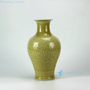RYMA10 14inch Carved Floral Design Ceramic Vase