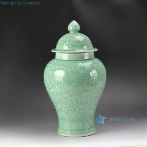 RYMA97 16inch Ceramic Carved Floral Celadon Ginger Jar
