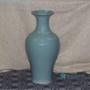 RYMA98 H26.5inch Tall Bamboo design Fishtail Celadon Ceramic Vase