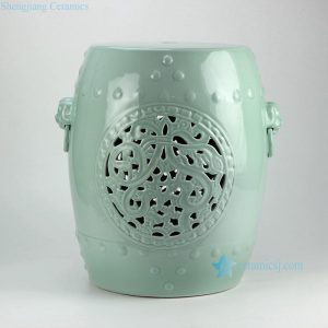 RYNQ177 h18inch Mint Green Hand Flower Carved Ceramic Garden Stool