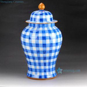 RYOK79-A/B h18inch Gingham Blue Pink Ginger Jar
