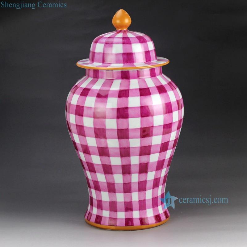 Ryok79 A B H18inch Gingham Blue Pink Ginger Jar
