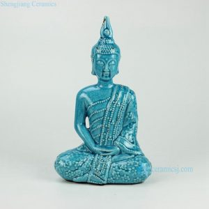 RYPU22 h13inch Blue Crackle Seated Buddha Figurine