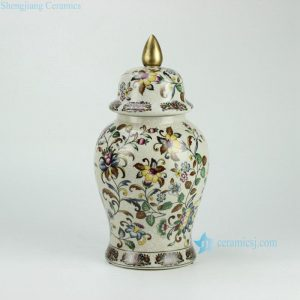 RYPU26 h14.5inch Crackle Floral design with Gold Knob Cearmic Temple Jar