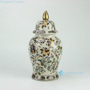 RYPU26 h14.5inch Crackle Floral design with Gold Knob Cearmic Temple Jar