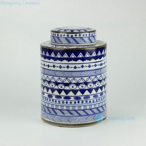 RYPU27 h11inch Blue and White Ceramic Round Tea Tin Jar