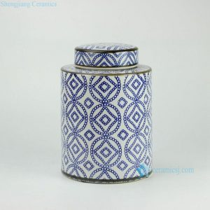 RYPU27-B H11inch Blue and White Ceramic Round Tea Tin Jar