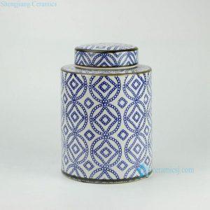 RYPU27-B H11inch Blue and White Ceramic Round Tea Tin Jar