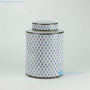 RYPU27-C h11inch Blue and White Ceramic Round Tea Tin Jar
