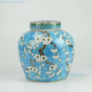 RYQQ34-B Blue H7.5inch Ceramic Plum blossom Jar