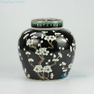 RYQQ34-C Black Ceramic Plum blossom Jar