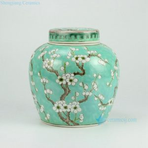 RYQQ34-D Green Ceramic Plum blossom Jar