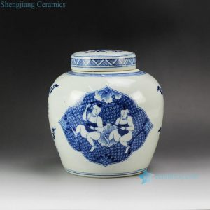 RYQQ53-A D7.5inch Hand Painted Children Ceramic Lidded Jar