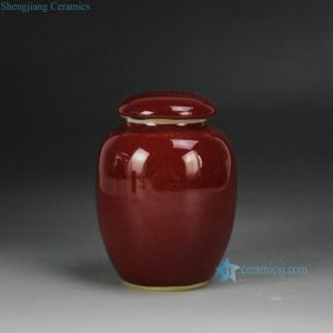 2L14 Ox blood Cearmic Round Tea Jar