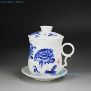 CBAD05-B Flower Design Ceramic Tea Mug with Saucer