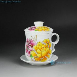 CBAD05-E Yellow and Pink Flower Cearmic Mug with Saucer