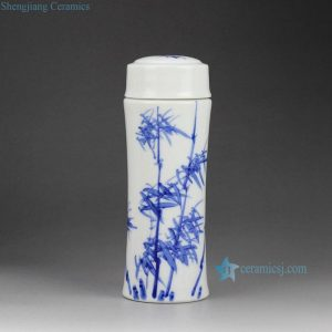 CBAJ05-L-B Blue and White Bamboo design Cearmic Cacuum Cup