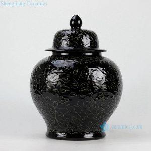 """RYDB37-C H14"""" Black Engraved Flower Ginger Jar"""