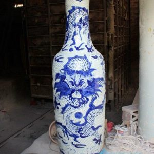 RYFJ08 Blue and White Carved Dragon Large Ceramic Vase