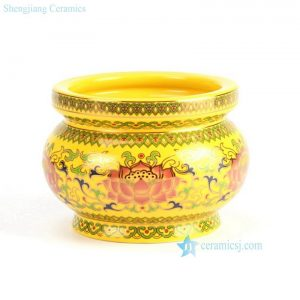 "RYIA11 D6"" Yellow background Flower design Fishbowl"
