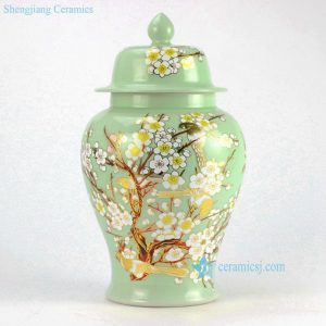 RYKB135 Pale Green Flower design Ceramic Ginger Jar