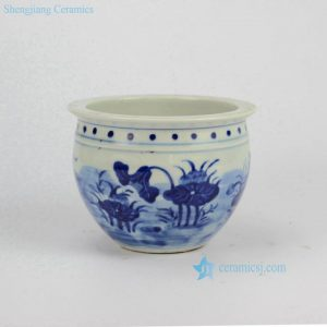 RYLU60-A Small Painted Lotus Blue and White Cearmic Flower Pot