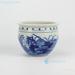 RYLU60-B Painted Blue and White Small Cearmic Planter