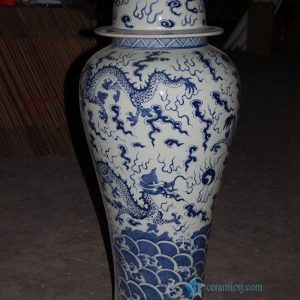 RYLU61 43inches Blue and White Dragon design Porcelain Ginger Jar