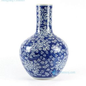 RYLU62-B Blue and White Floral Porcelain Ball Vase