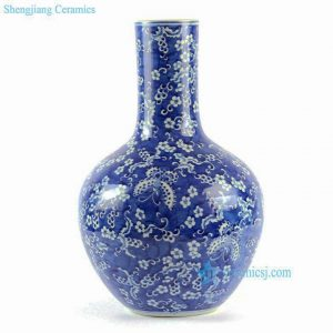 RYLU62-C 16inches Blue and White Butterfly Ball Porcelain Vase