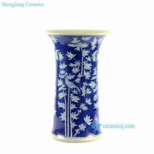 "RYLU63 H16"" Blue and White Bamboo Bird Design Flower Vase"