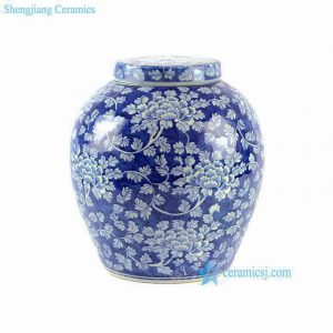 "RYLU65 H12.6"" Blue and White Floral Lidded Jar"