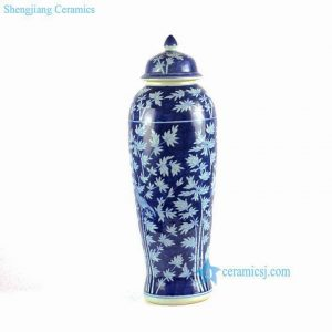 "RYLU66-A H23"" Blue and White Bamboo Bird Porcelain Temple Jar"