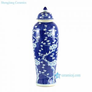 "RYLU66-B H29"" Plum blossom Blue and White Ceramic Ginger Jar"