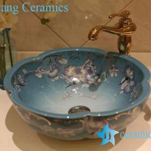 LT-20160 Jingdezhen art ceramic wash basin / unique bathroom sink