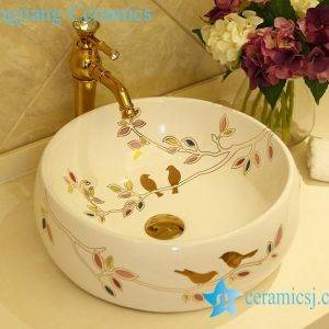 LT-X1A1308 Jingdezhen China art ceramic bathroom counter top washbasin