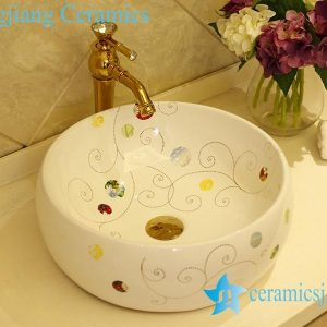 LT-X1A1334 Jingdezhen China art ceramic bathroom counter top wash basin