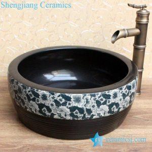 YL-B0_2081 dark color waist drum shaped bathroom sanitary basin