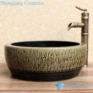 YL-B0_2084 black inside tea dust glaze outside thickened counter top wash basin sink