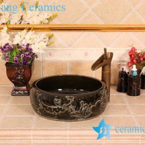 YL-B0_5383 bright finish carving lotus flower black bathroom cabinet top sink bowl